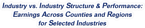 North Dakota - Industry vs. Industry Structure & Performance: Earnings Across Counties and Regions for Selected Industries